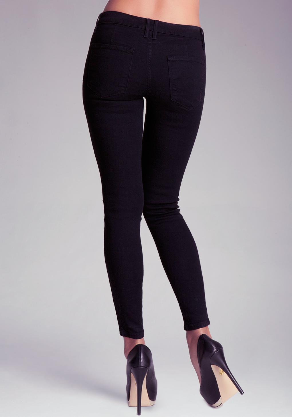 Bebe Black Multi Zipper Skinny Jeans in Black | Lyst