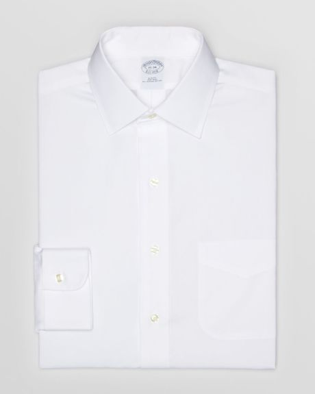 Brooks brothers solid pinpoint non iron dress shirt in for Mens pinpoint dress shirts