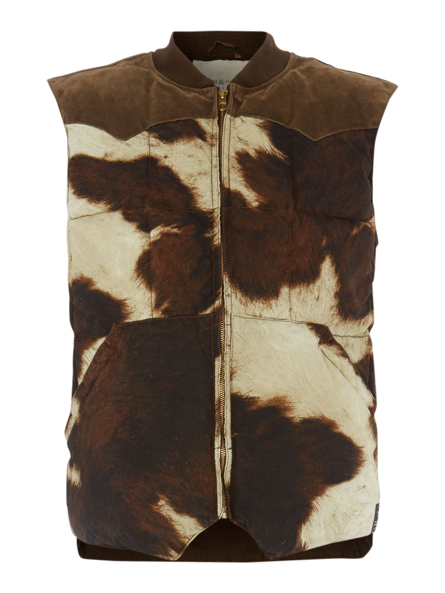 denim supply ralph lauren cow print padded gilet in. Black Bedroom Furniture Sets. Home Design Ideas