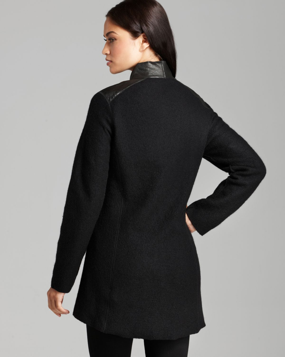 Eileen Fisher Asymmetric Zip Front Jacket With Leather