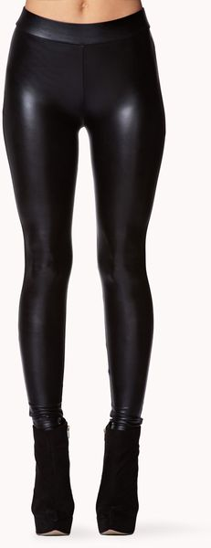 Forever 21 Faux Leather Leggings In Black Lyst