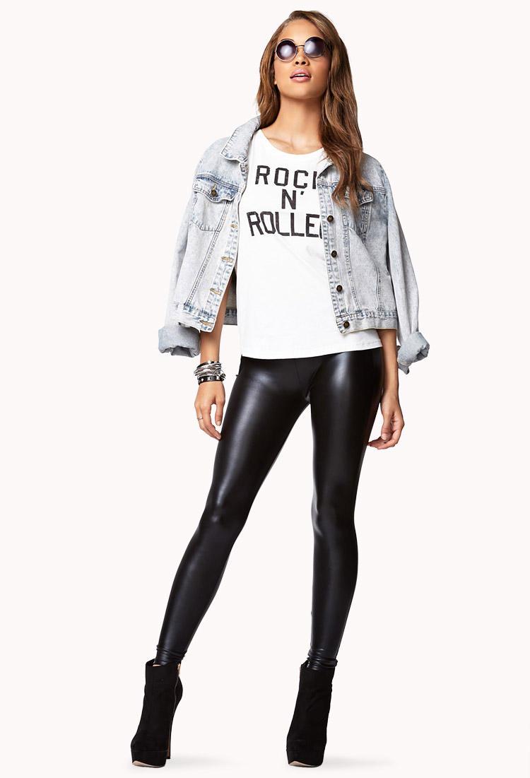 Leather look leggings forever 21