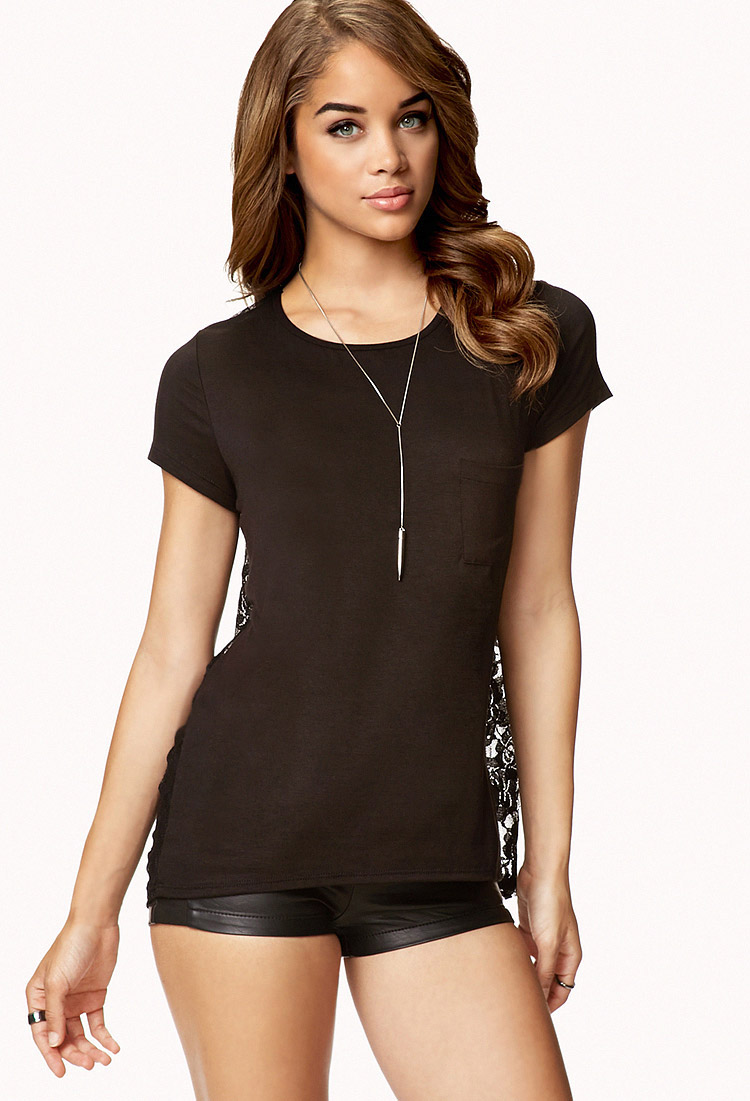 5172797ed96 Forever 21 Black Heathered Lace Back Top