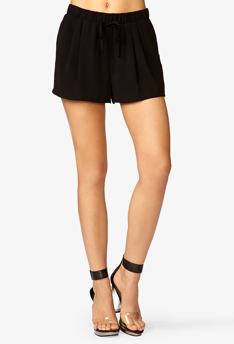 American Express Deals >> Forever 21 High-Waisted Drawstring Shorts in Black - Lyst