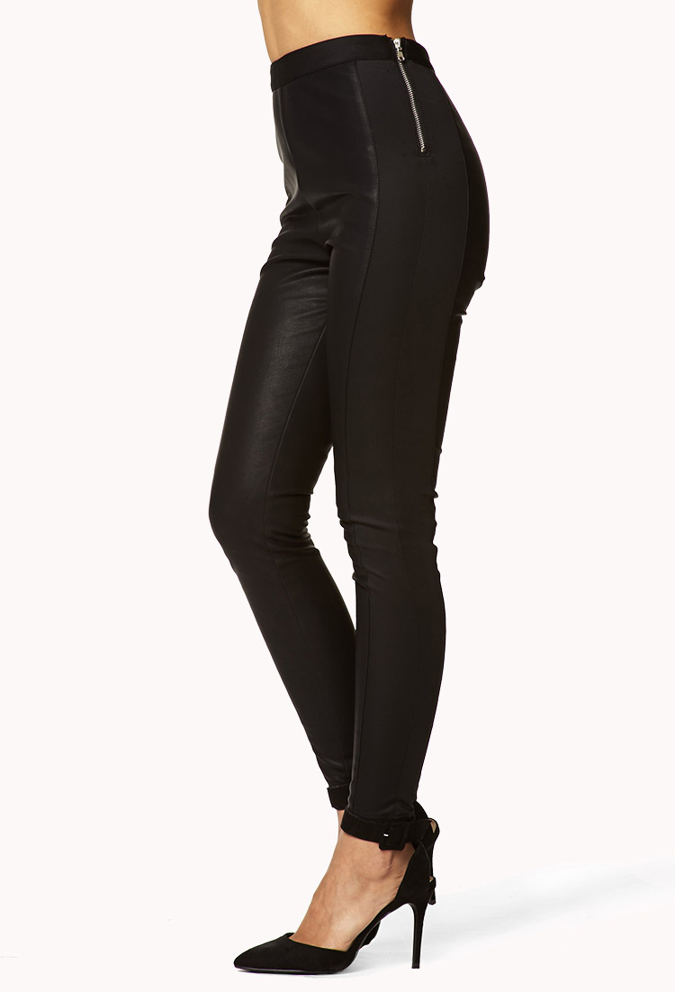 696667ef83d16 Lyst - Forever 21 High-Waisted Faux Leather Pants in Black