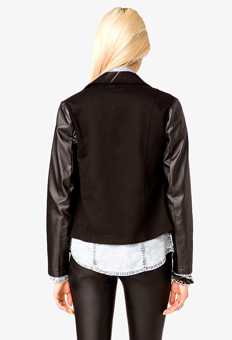 Faux leather sleeve moto jacket