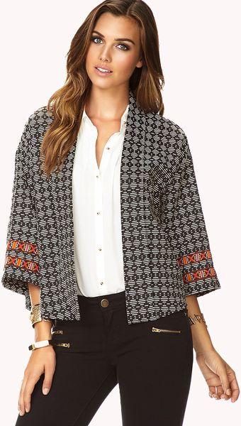 Forever 21 Bold Stripe Kimono Jacket in Black (BLACK/CREAM ...