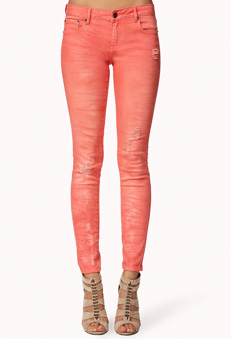 Forever 21 Distressed Colored Skinny Jeans in Coral (Pink ...