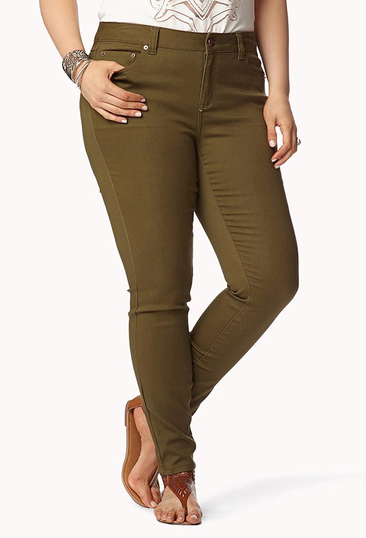 Forever 21 Colored Stretchy Skinny Jeans in Natural | Lyst - Images Of Dark Olive Skinny Jeans - Crochetfashion