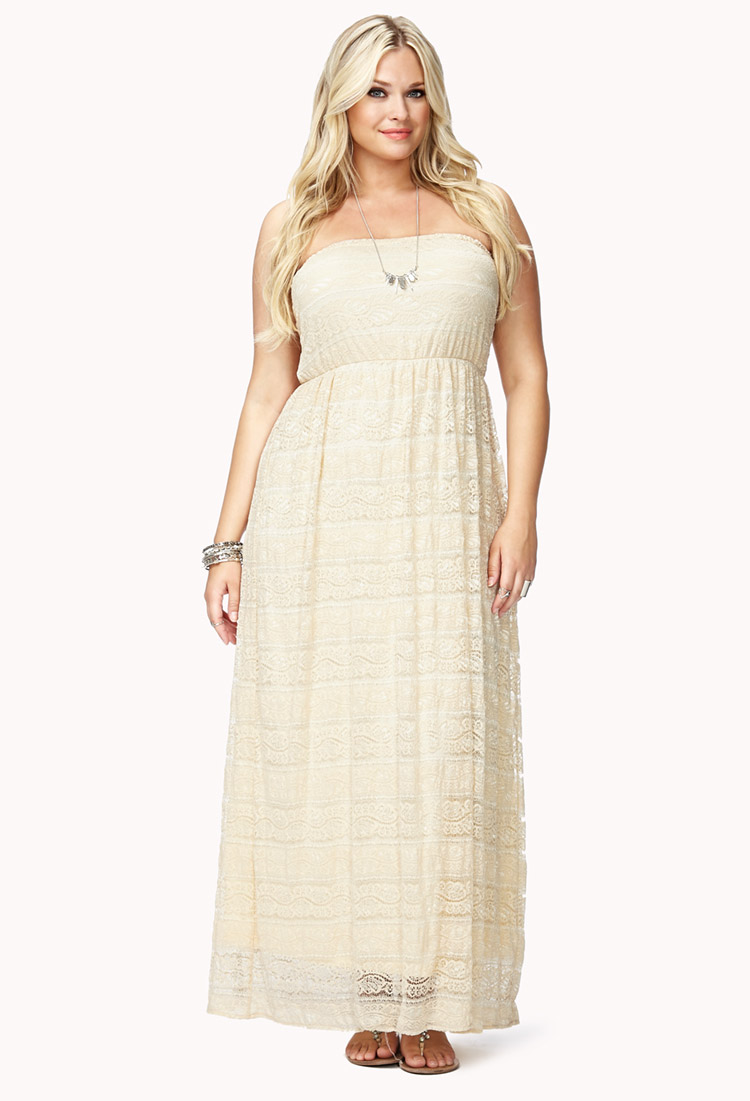 Lyst Forever 21 Romantic Crochet Lace Maxi Dress In Natural