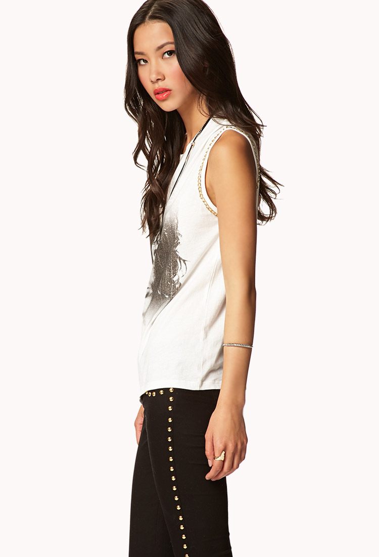 forever 21 chained jim morrison muscle tee in white lyst. Black Bedroom Furniture Sets. Home Design Ideas