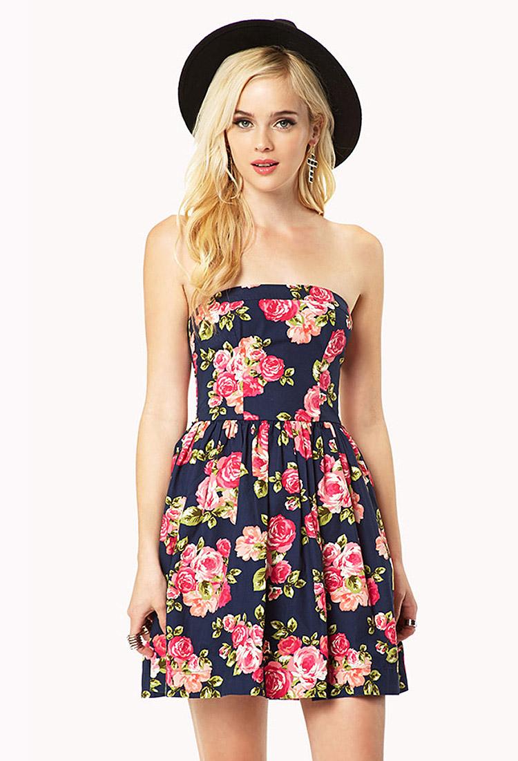 3f187cae38d Forever 21 Rosebud Strapless Dress - Lyst