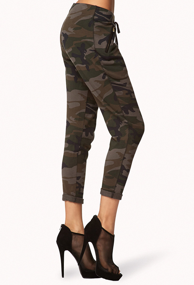 Perfect Forever 21 Drawstring Camo Pants In Multicolor (Olive ...