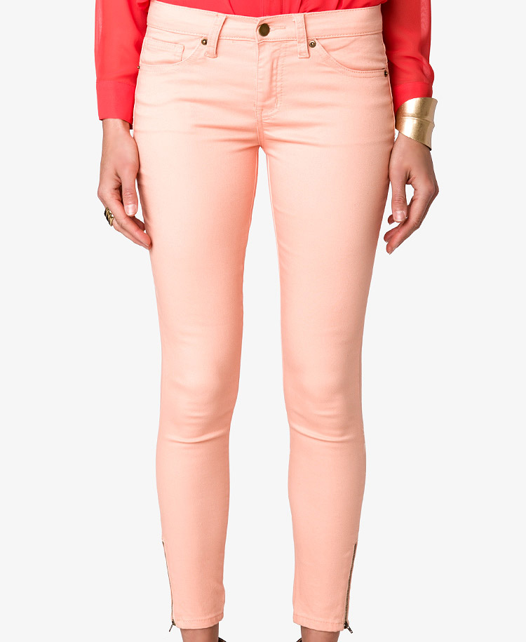 Forever 21 Colored Zippered Skinny Jeans in Pink | Lyst