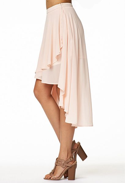 forever 21 tiered high low skirt in pink lyst