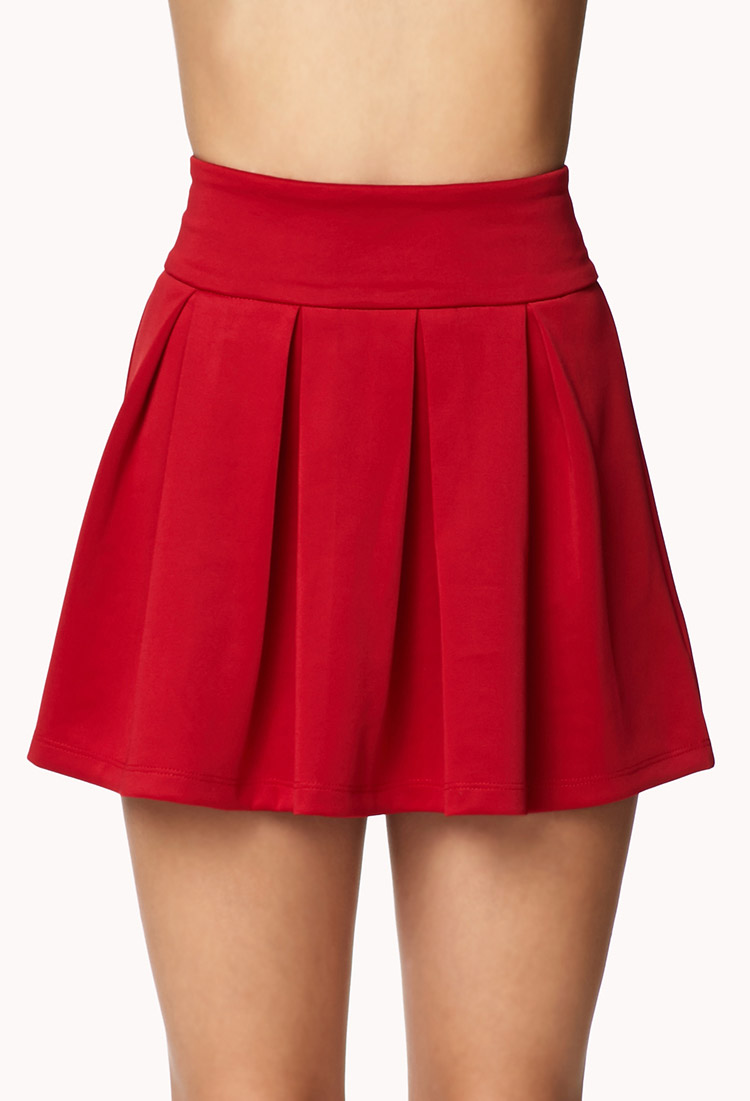 Forever 21 Box Pleated Skirt in Red | Lyst