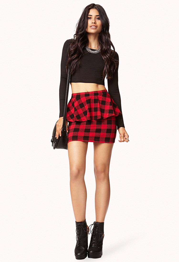 Forever 21 Contemporary Plaid Peplum Bodycon Skirt In Red