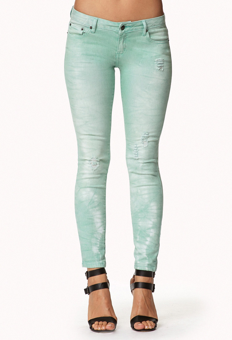 d59cef18cb8 Lyst - Forever 21 Distressed Colored Skinny Jeans in Green