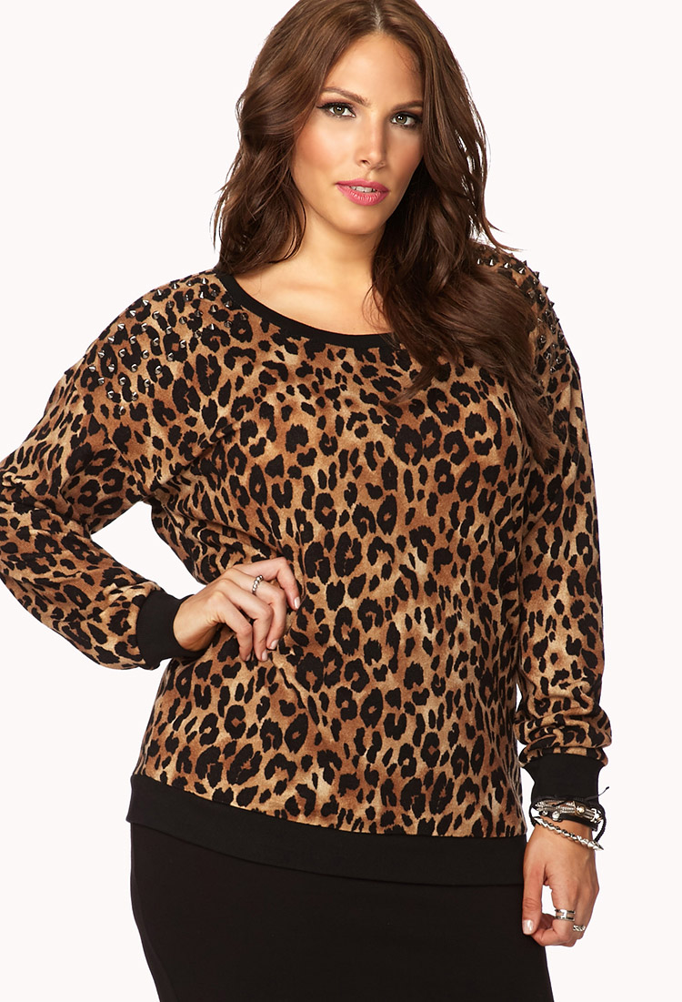 Forever 21 Plus Size Untamed Spiked Leopard Sweatshirt Lyst