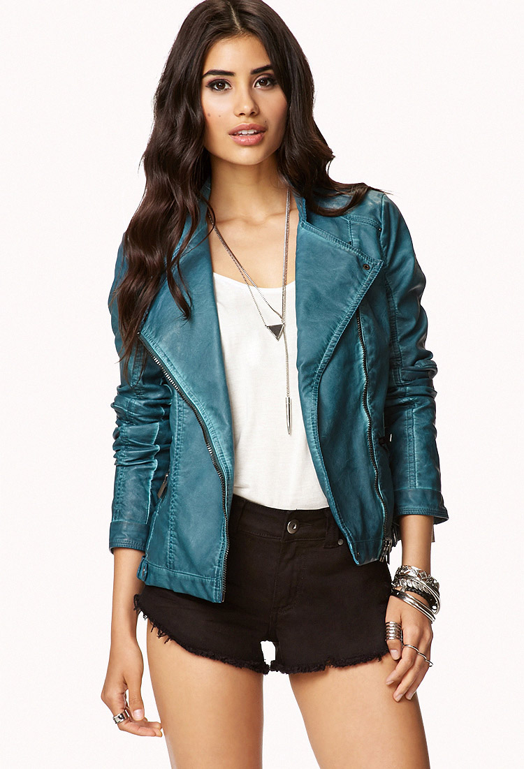 Blue Leather Jacket Womens