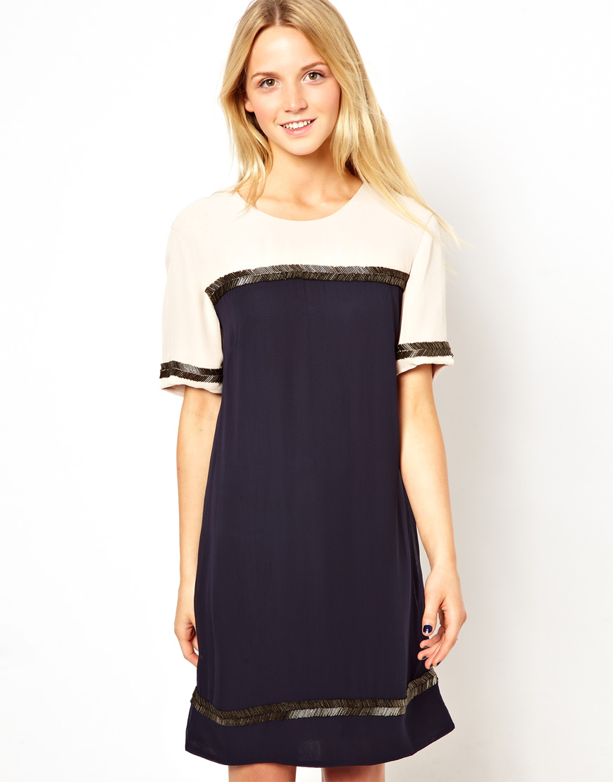 French Connection Tshirt Dress With Arrow Beaded Trim In