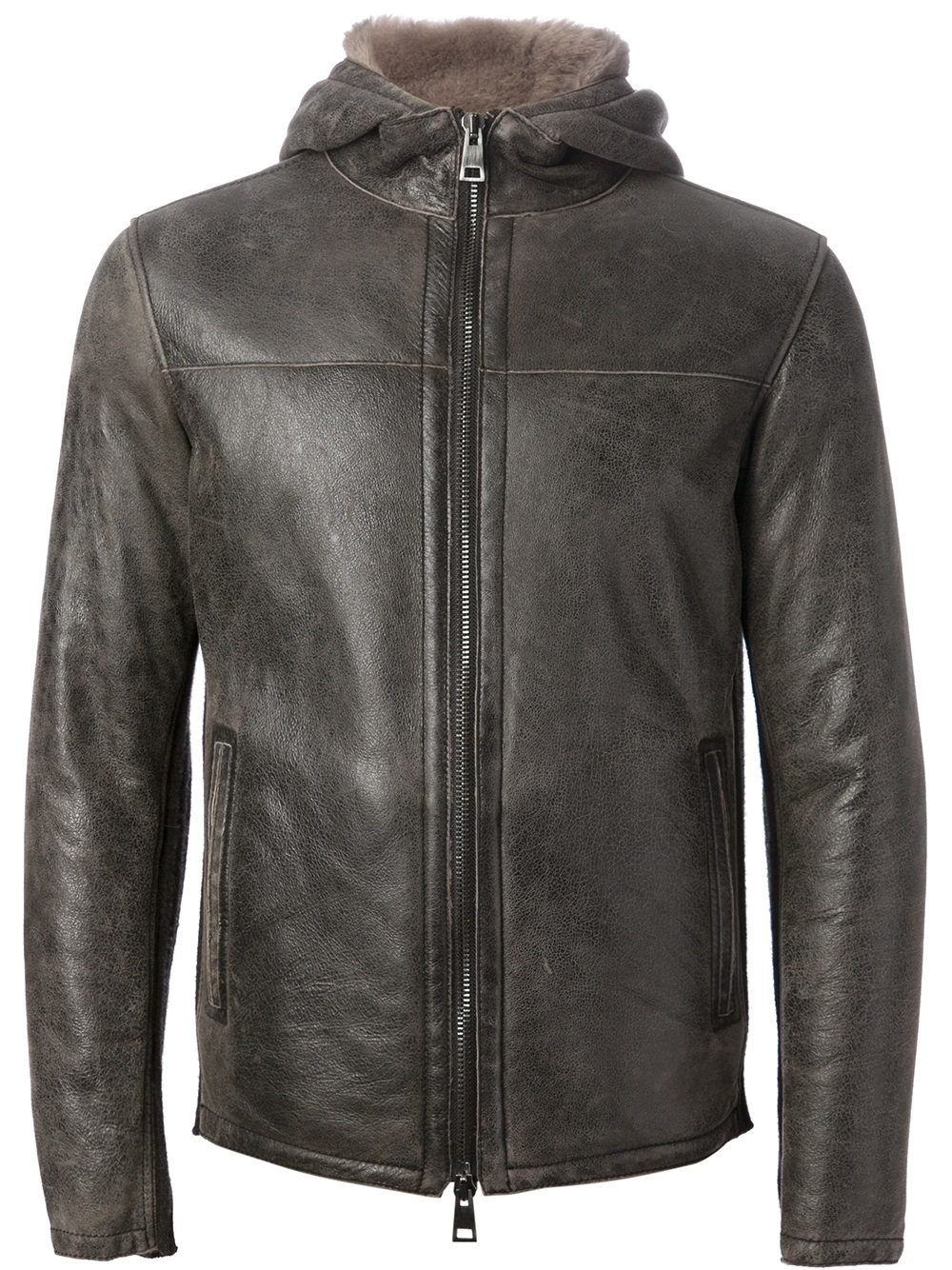 Gms 75 Hooded Leather Jacket In Brown For Men Lyst