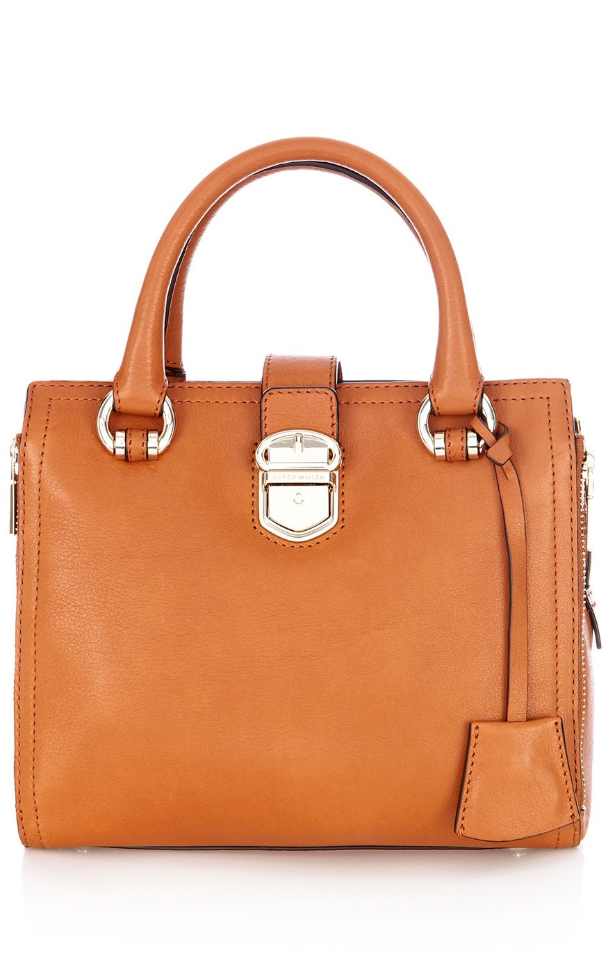 Lyst Karen Millen Tan Luxe Leather Mini Bag In Orange