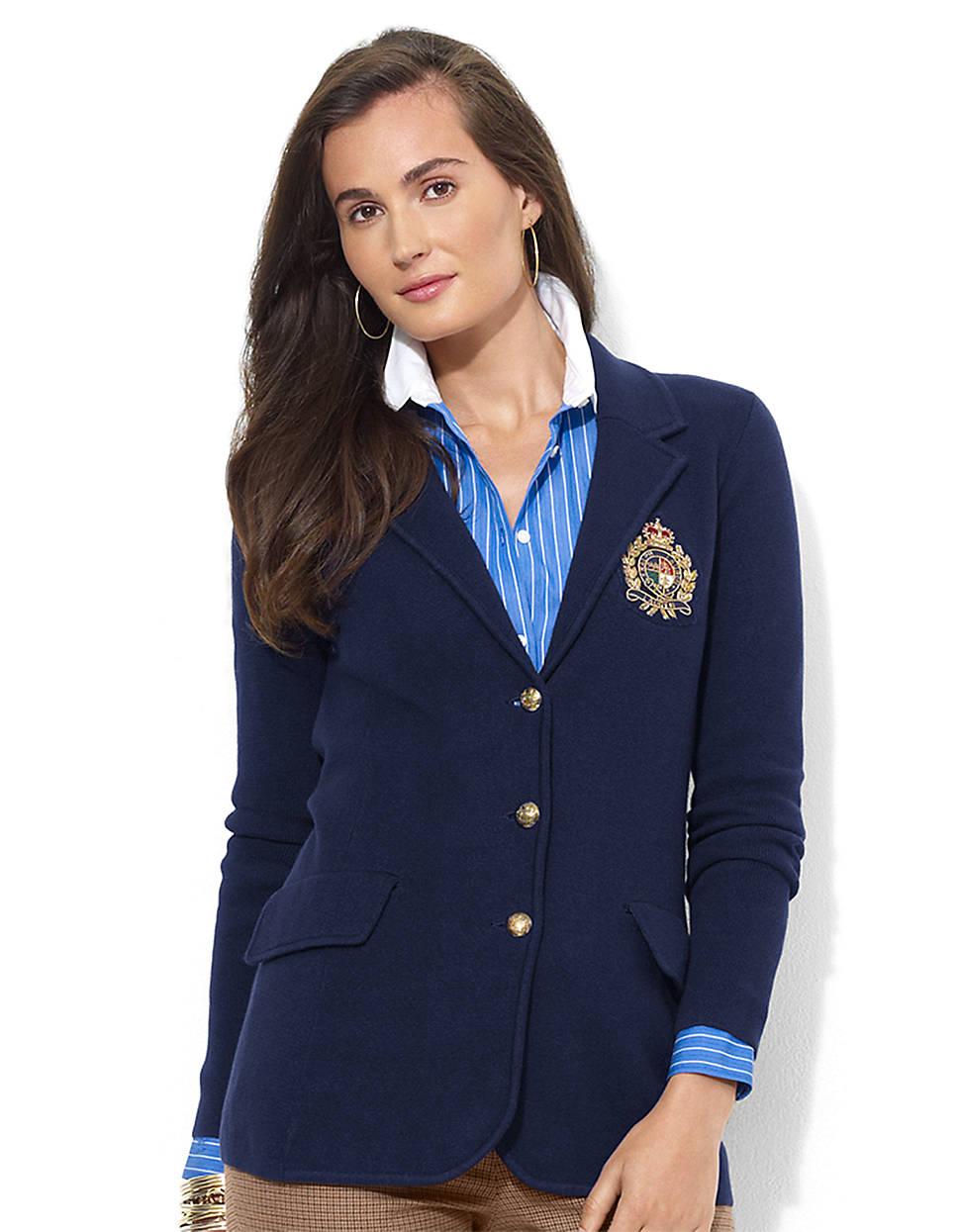 lauren by ralph lauren petite cotton crest blazer in blue lyst. Black Bedroom Furniture Sets. Home Design Ideas