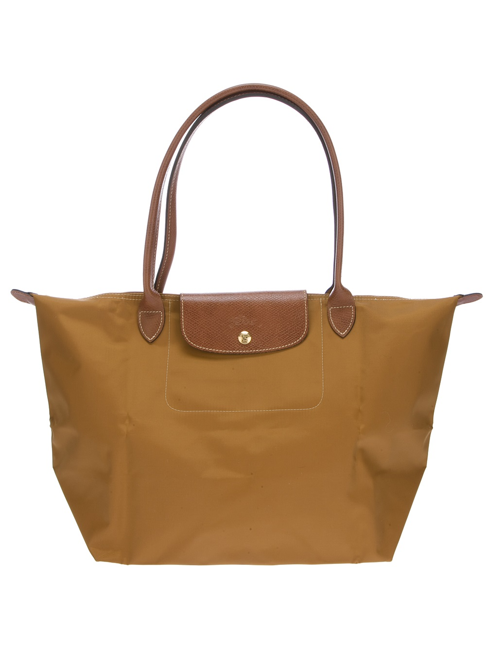 longchamp le pliage tote in beige grey lyst. Black Bedroom Furniture Sets. Home Design Ideas