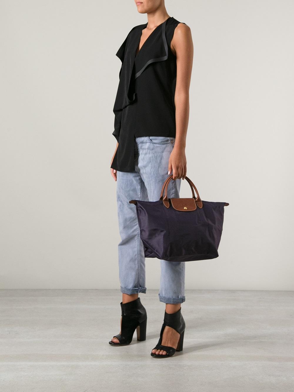 Lyst Longchamp Le Pliage Tote Bag In Purple