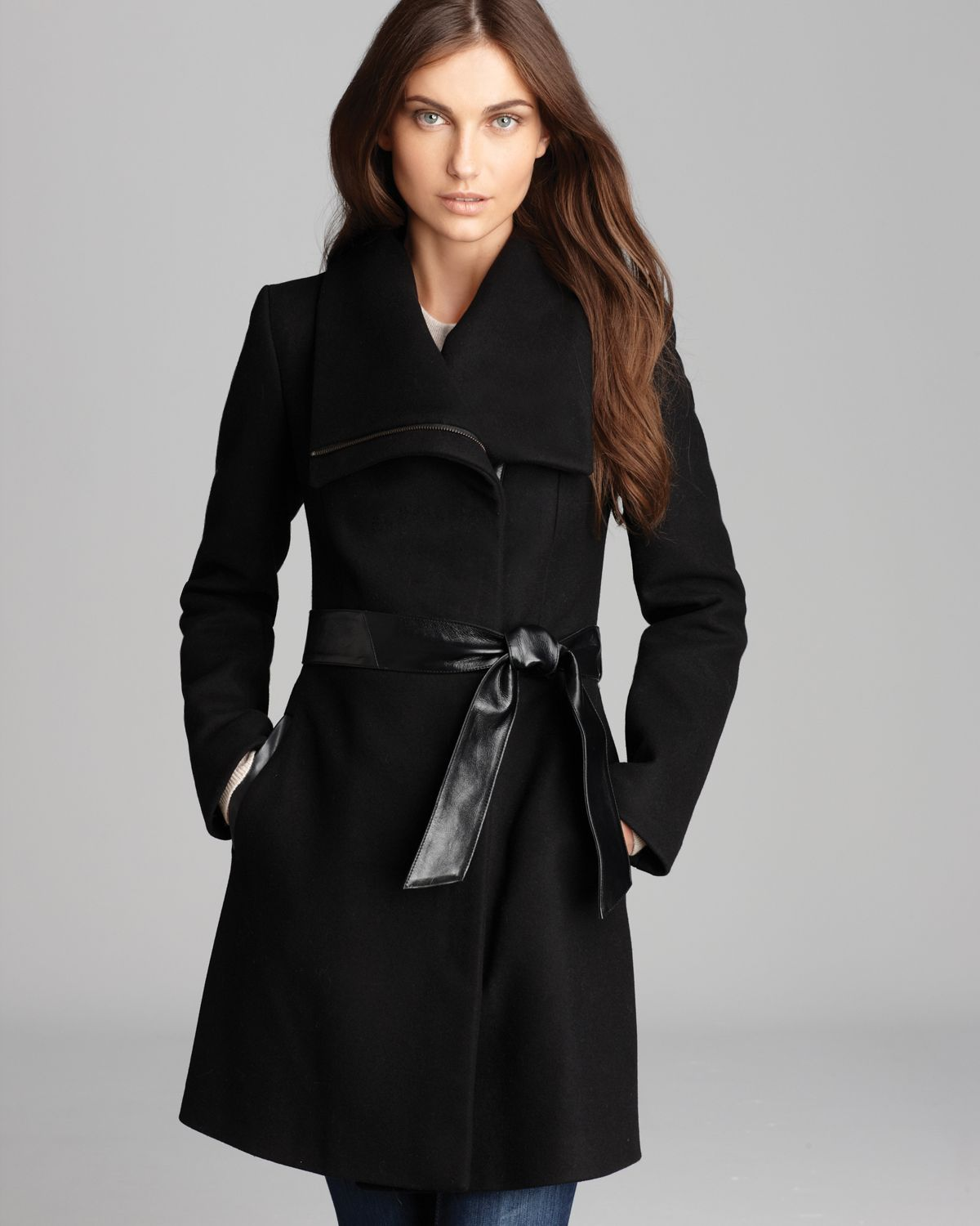 Mackage Coat - Kathryn Leather Belt in Black | Lyst