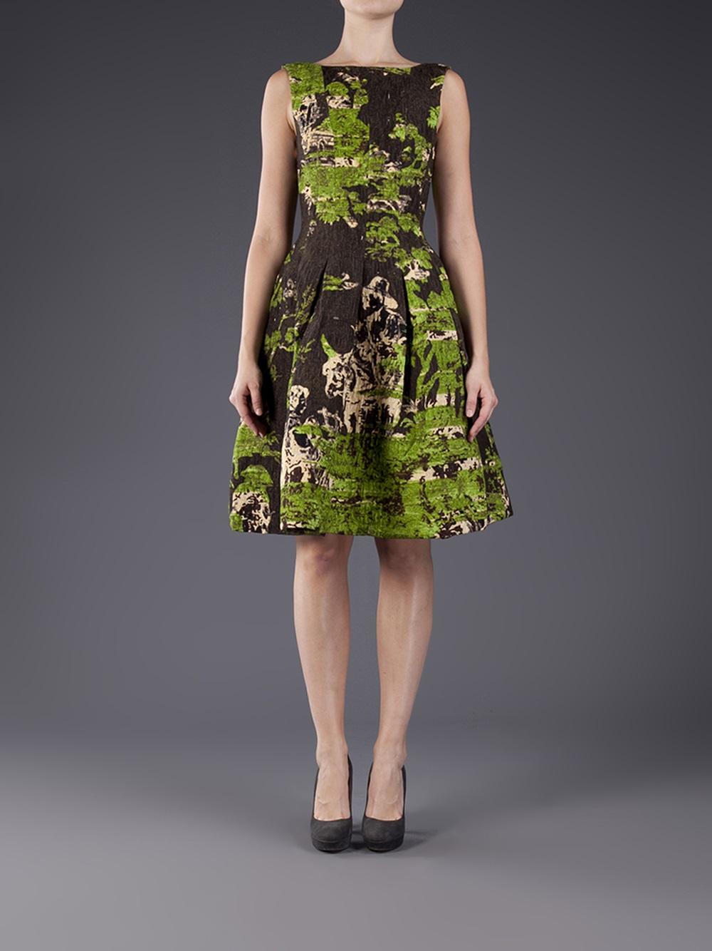 Oscar de la renta Flared Full Skirt Dress in Green