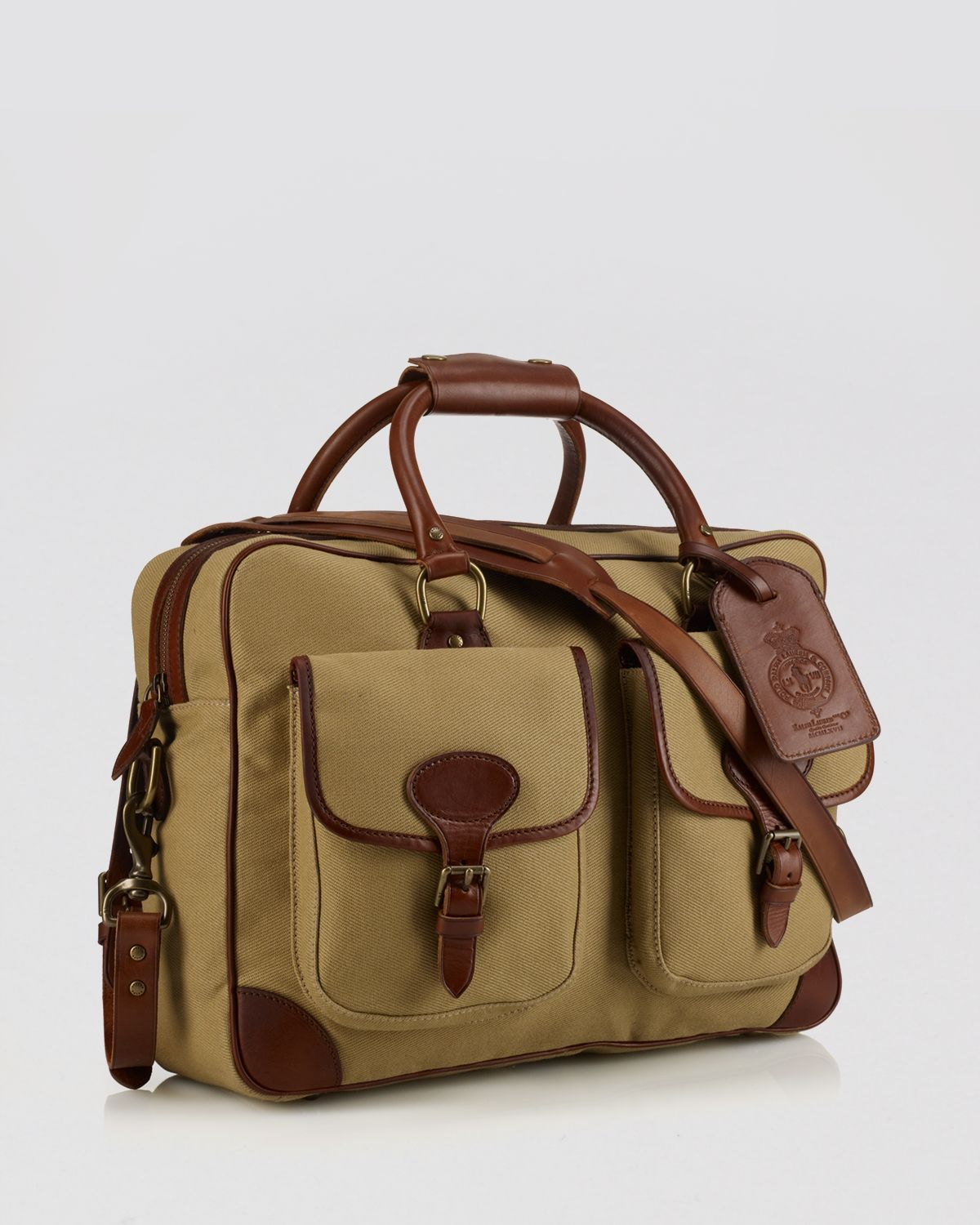 7a5f02415db2 ... real lyst ralph lauren polo canvas leather commuter bag in natural  d790b aca6b