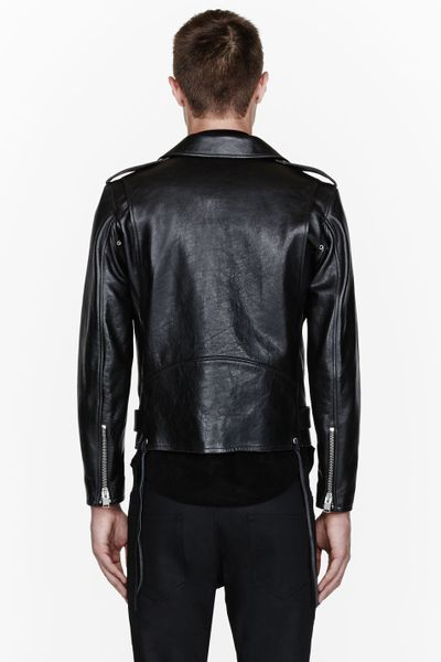 Saint Laurent Black Textured Leather Biker Jacket In Black