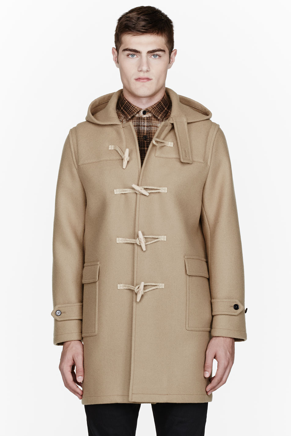 Saint laurent Camel Classic Duffle Coat in Natural for Men | Lyst
