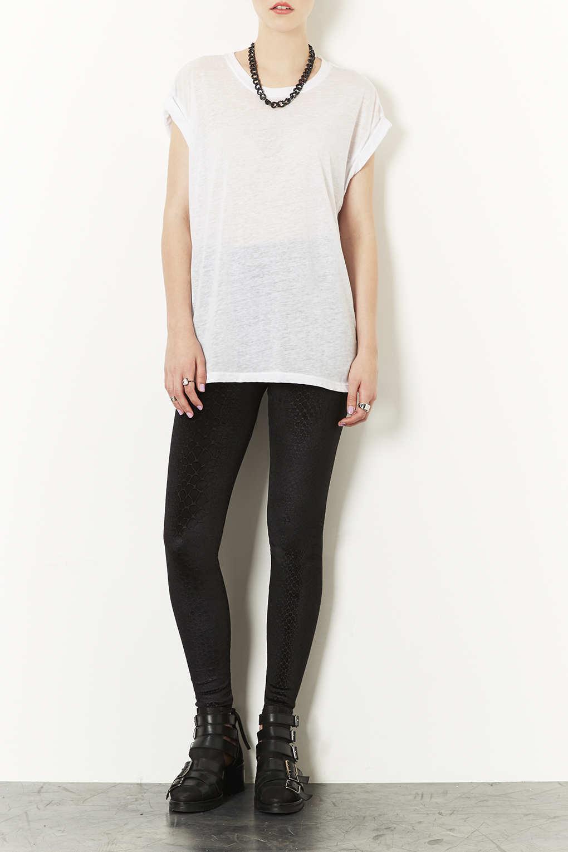 Lyst Topshop Textured Velvet Croc Leggings In Black