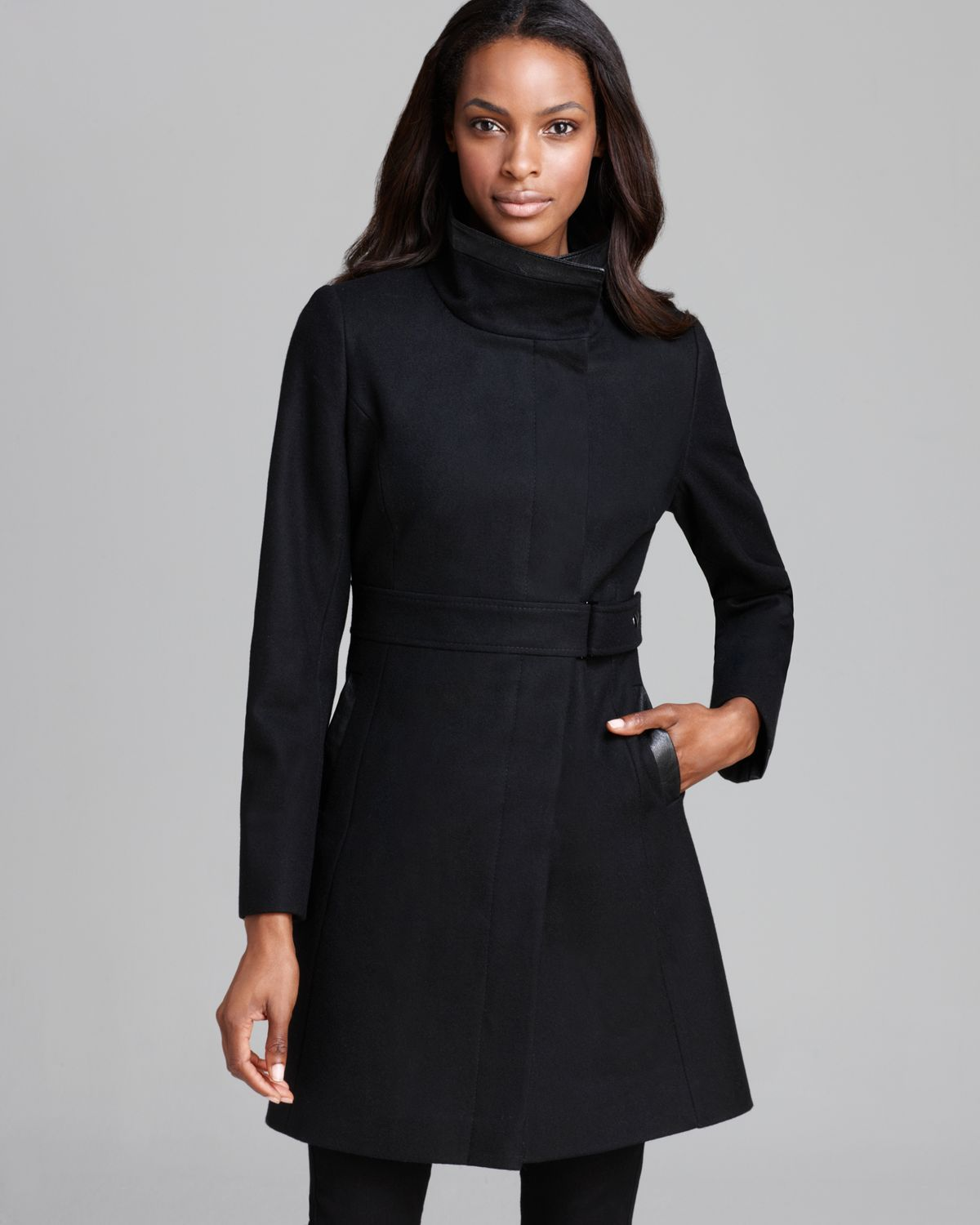 Via spiga Coat - Ly Faux Leather in Black | Lyst