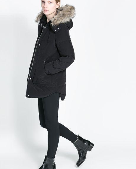 Zara Zip Puffer Jacket With Hood In Black Lyst