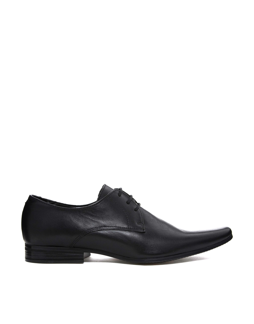 asos asos derby shoes in leather in black for lyst