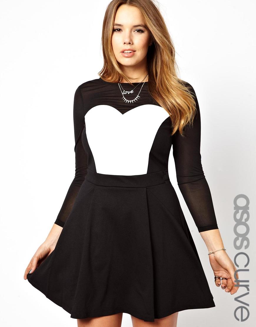 Black and white skater dress asos