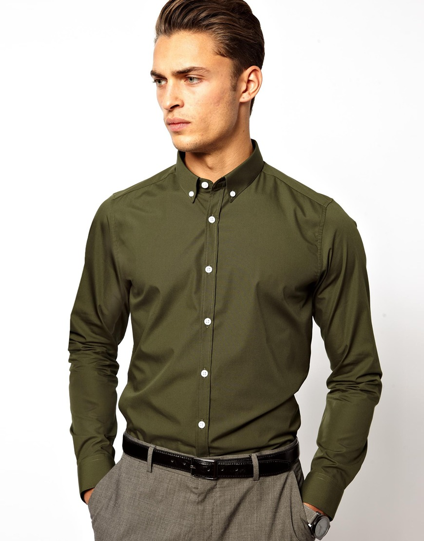 Asos Asos Smart Shirt with Button Down Collar in Green for Men | Lyst