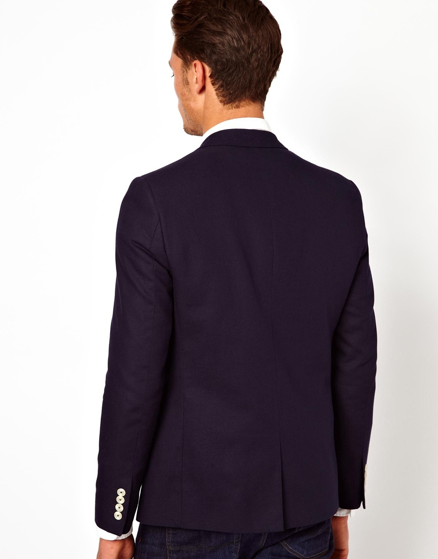 asos asos slim fit blazer with white buttons in blue for. Black Bedroom Furniture Sets. Home Design Ideas