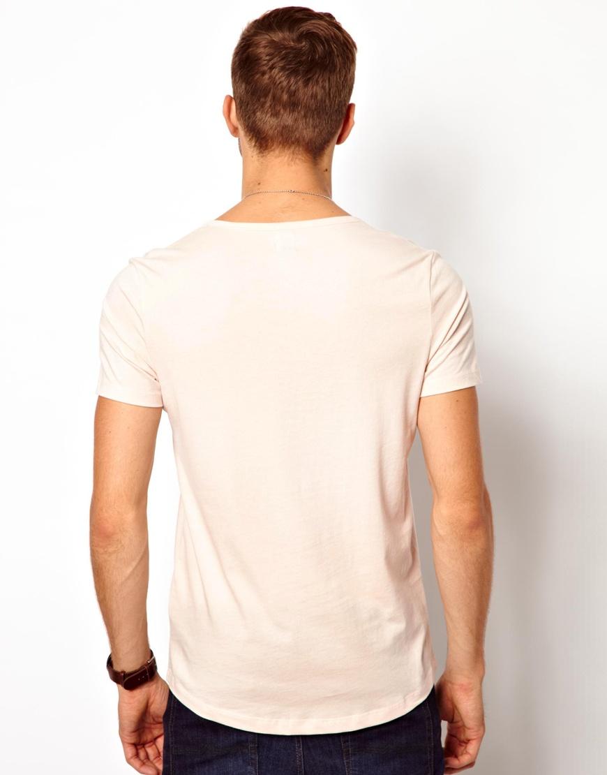 Lyst asos asos tshirt with deep scoop neck in pink for men for Deep scoop neck t shirt