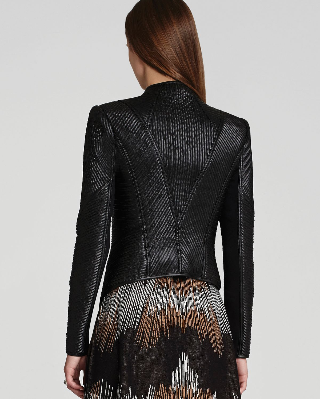 Lyst Bcbgmaxazria Jacket Jagger Faux Leather Strips In Black