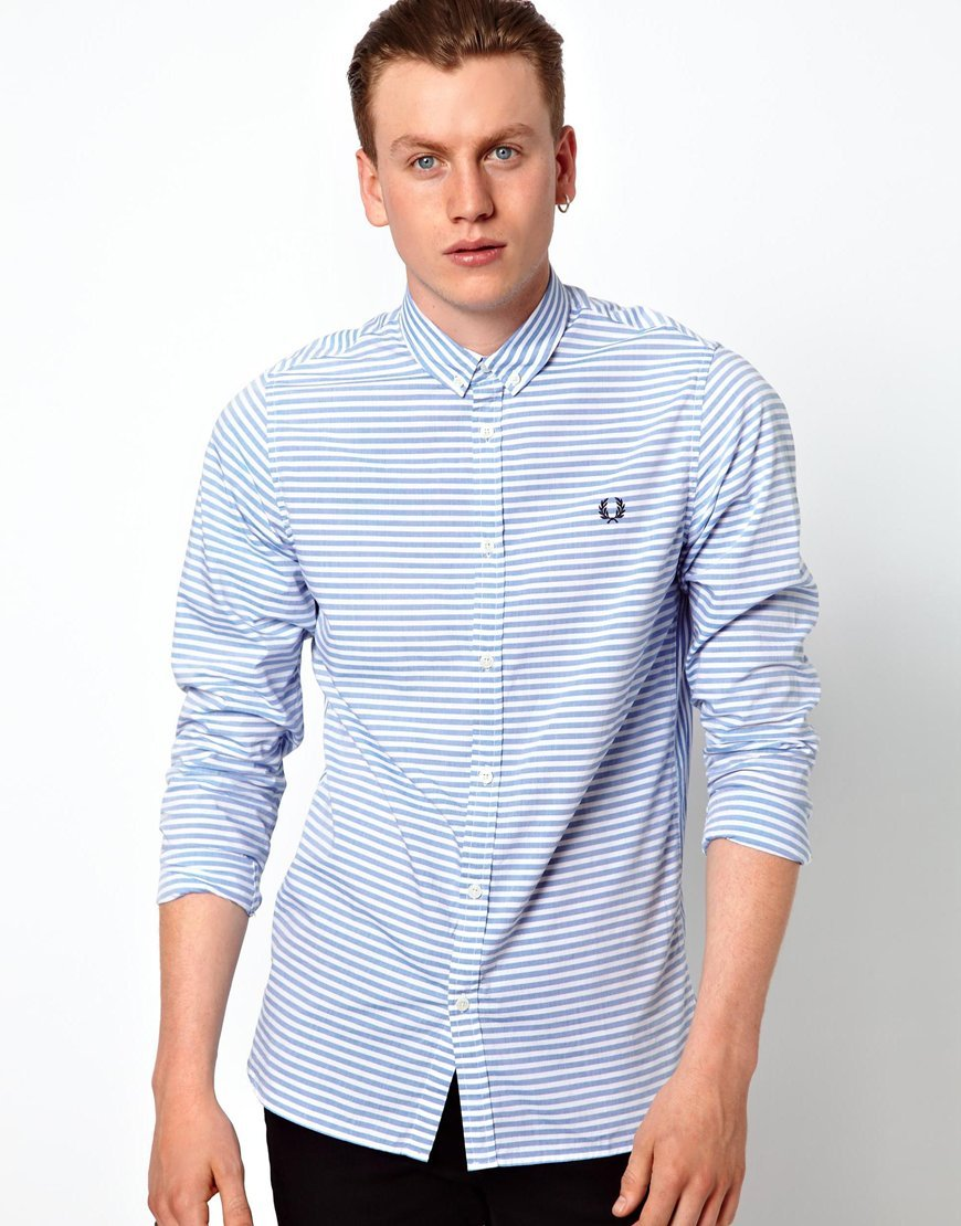 Fred perry horizontal striped shirt in blue for men lyst for Horizontal striped dress shirts men