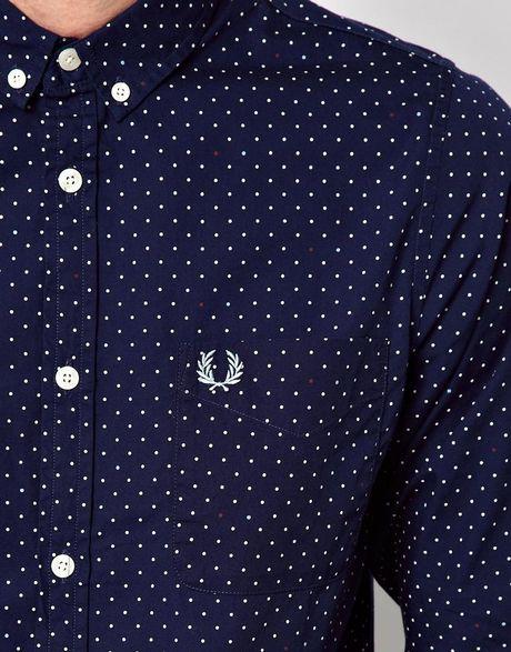 Dark Blue Polka Dot Shirt Polka Dot Print Shirt in