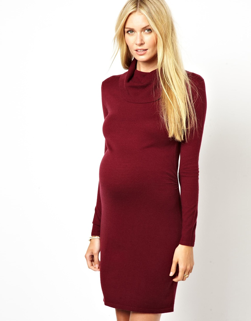 Asos Sweater Dress in Red | Lyst