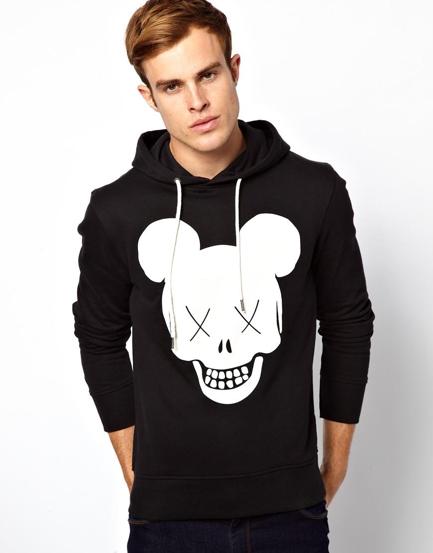 izzue jack jones hoodie with skull logo print in black for. Black Bedroom Furniture Sets. Home Design Ideas