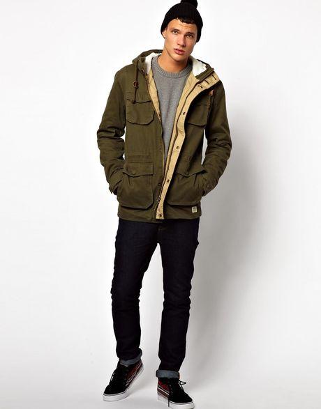 asos jack jones parka jacket with borg hood in green for men. Black Bedroom Furniture Sets. Home Design Ideas