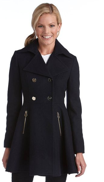 Laundry By Shelli Segal Fit And Flare Coat In Black Lyst